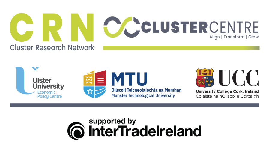 All Ireland Cluster Network logo with Cluster Centre, Ulster University, MTU, UCC and Intertrade Ireland Logos